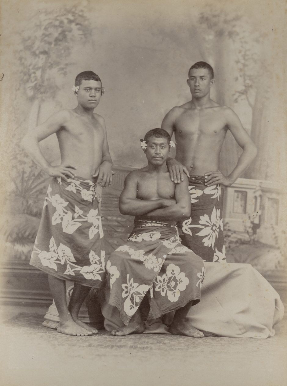 Studio photograph of three Tahitians, photograph
