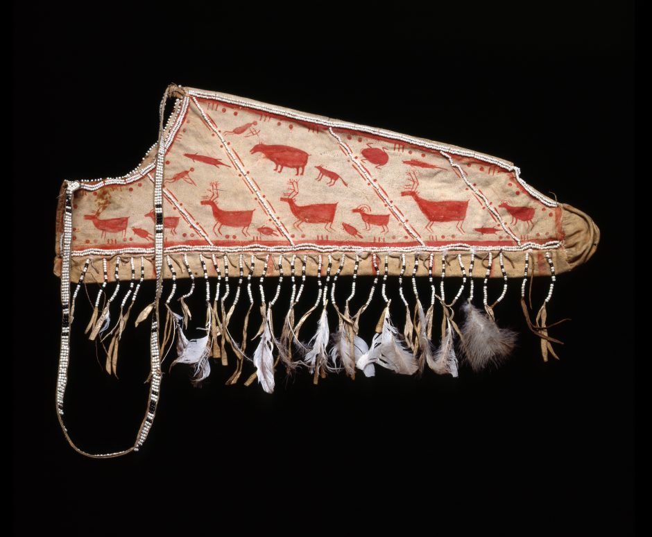 Painted leather quiver with depictions of animals and hunters
