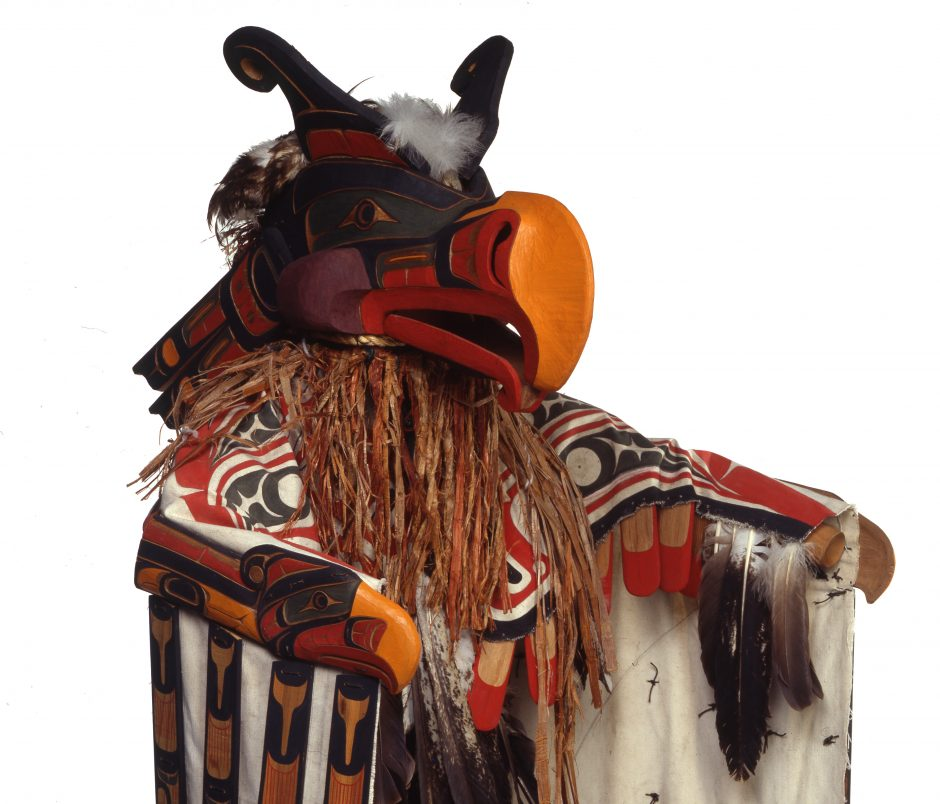 Costume and mask representing a thunderbird with red and yellow beak