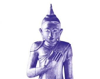 Goldene Figur des Buddha Siddharta Gautama, stehend