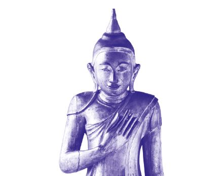 Golden figure of Buddha Siddharta Gautama, standing, detail, colored