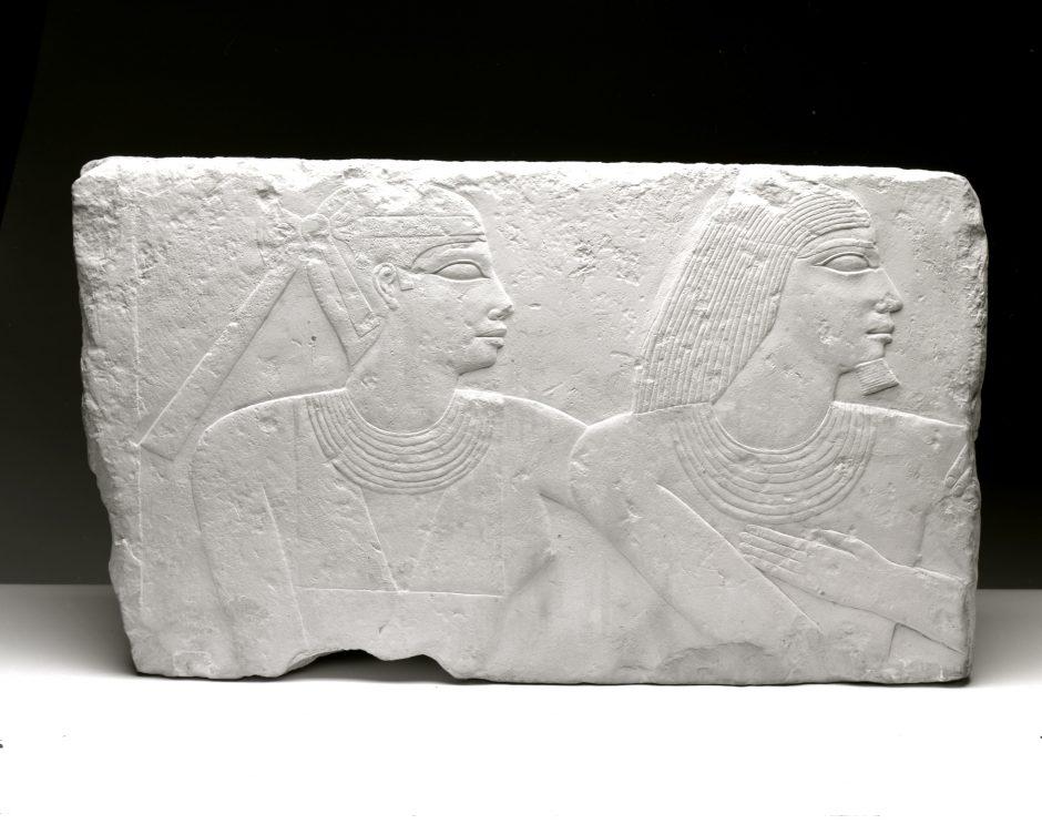 Grabrelief eines Ehepaares, aus Kalkstein
