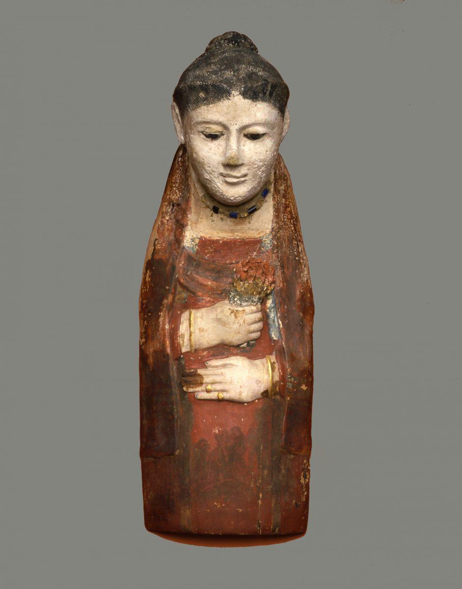 Mummy mask of a woman, made of limestone and plaster