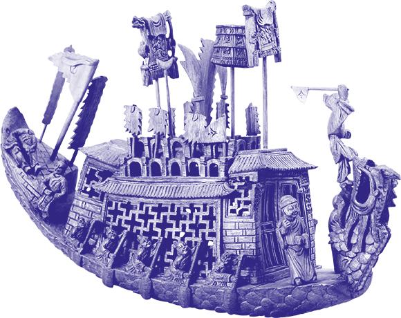 geschnitztes Bootsmodell mit Ehrenstandarte, Ruderer, Objektbild koloriert