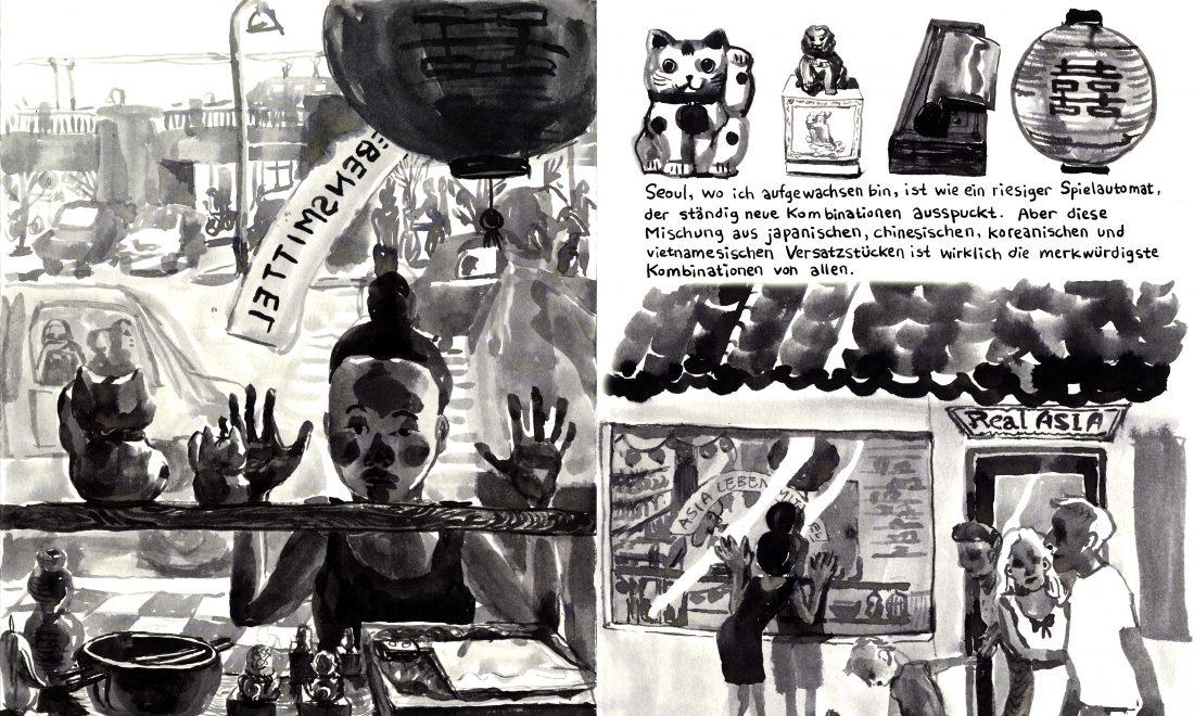 Schwarz-weiße Comiczeichnung