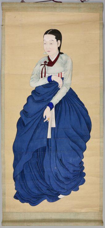 Frauenporträt, zeitgenössische Kleidung 19. Jahrhundert, stehend, Achtelprofil