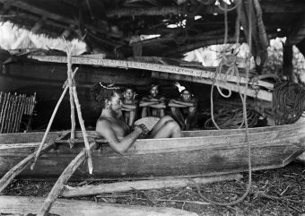 Boathouse, Micronesia, boat construction, wooden boat, group, man in a boat, ropes