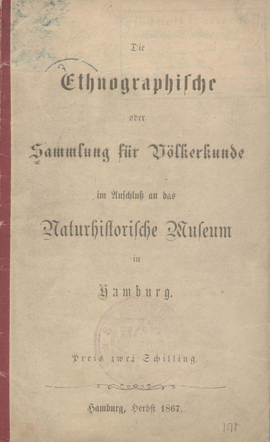 Ansicht des historischen Sammlungsverzeichnisses, Titelblatt