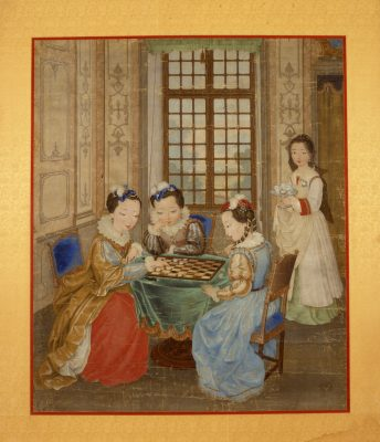 Court ladies sitting, game, table, summer palace, painting