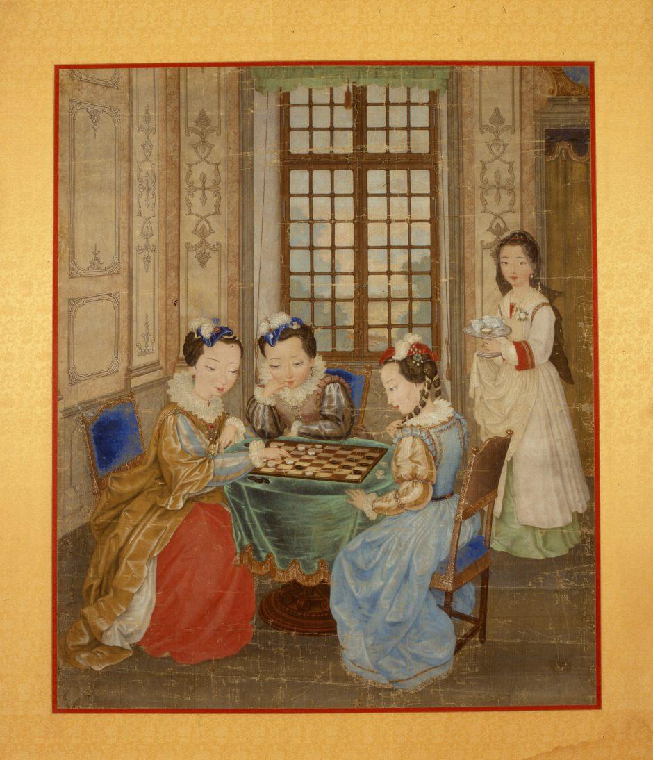 Hofdamen sitzend, Spiel, Tisch, Sommerpalast, Gemälde