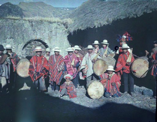 Festival, Bolivia, group, garb, musical instruments, drums, flutes, village, mountains, hats, poncho