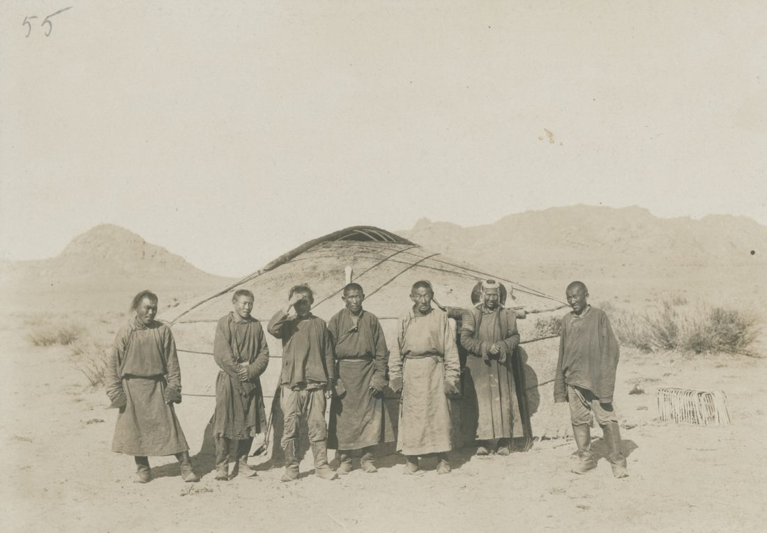 Group in front of yurt, Ail, Buryats, Mongolia, steppe, accomodation