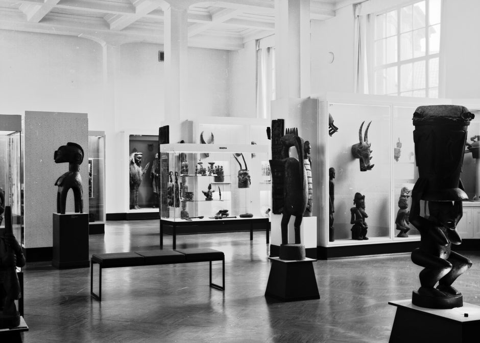 Exhibition hall, showcases, Art from West Africa, b/w photograph