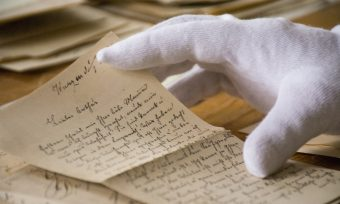 Historical letters, glove