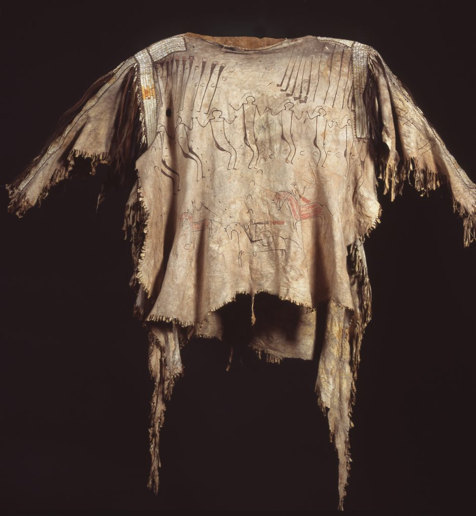 Painted leather shirt with embroidery of porcupine quills and locks of hair
