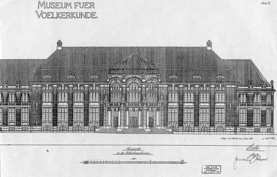 Zeichnung, Gebäude, Vorderansicht, Fassade, Museum an der Rothenbaumchaussee