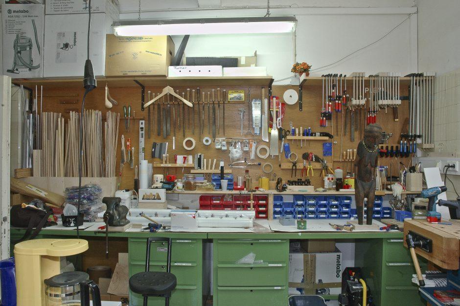 Workshop, tools, colour photograph