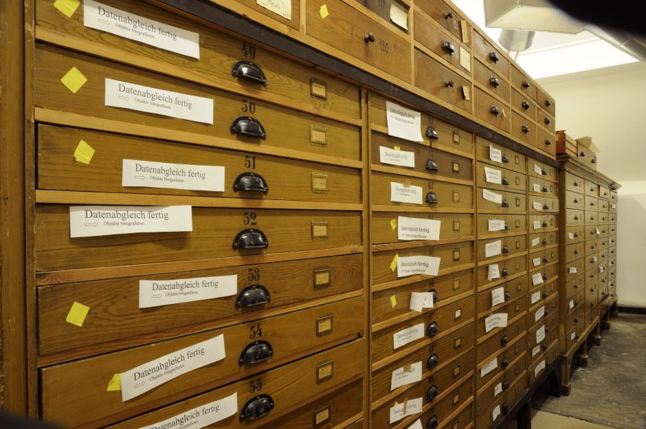 museum cabinets, data matching, colour photograph