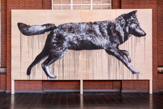"""Gespraytes Wolfsmotiv """"All City Movement – Frame 6"""" von Jussi TwoSeven, 2019⠀"""