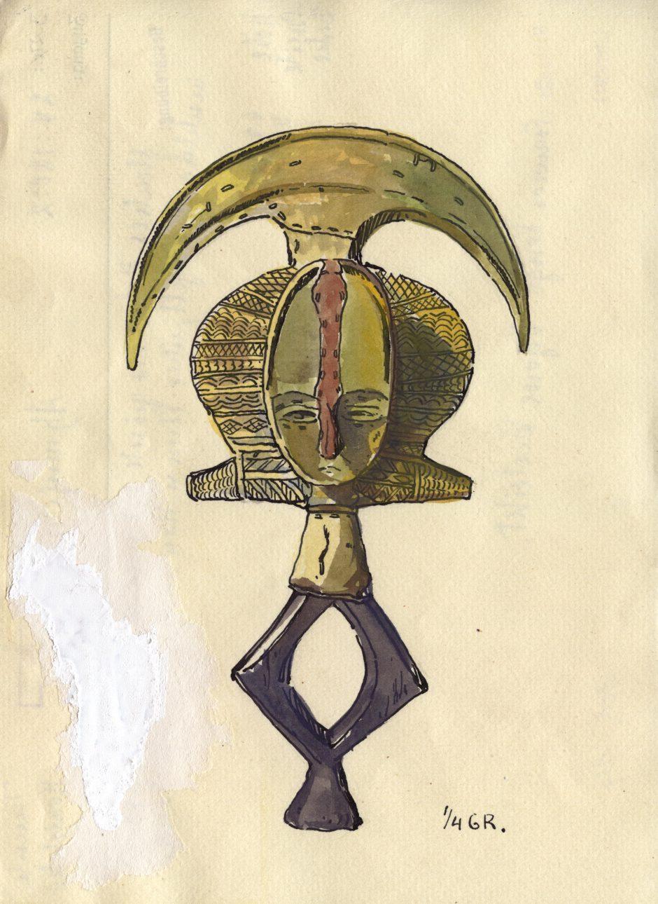 Inventarkartenzeichnung einer Kota Reliquarfigur