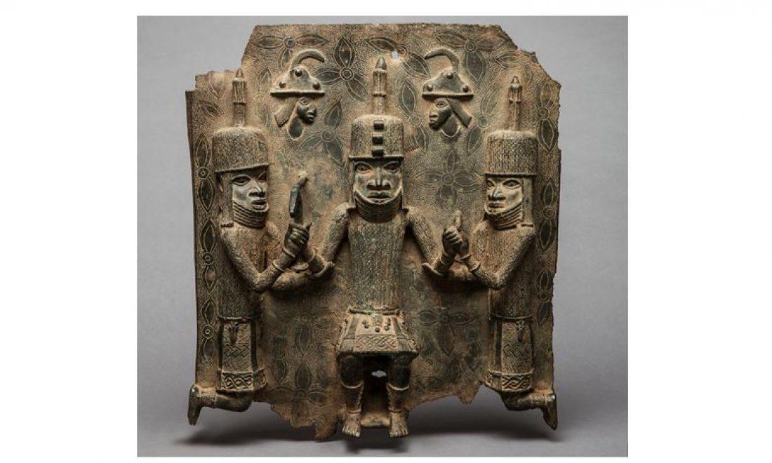 Relief plaque, three people, unknown artist, Benin Kingdom, Nigeria, 16./17. century