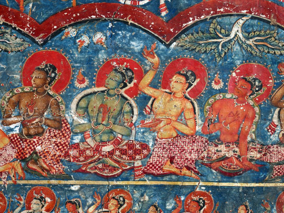 Detail of an ancient painting of Bodhisattvas, Alchi Sumtsek temple