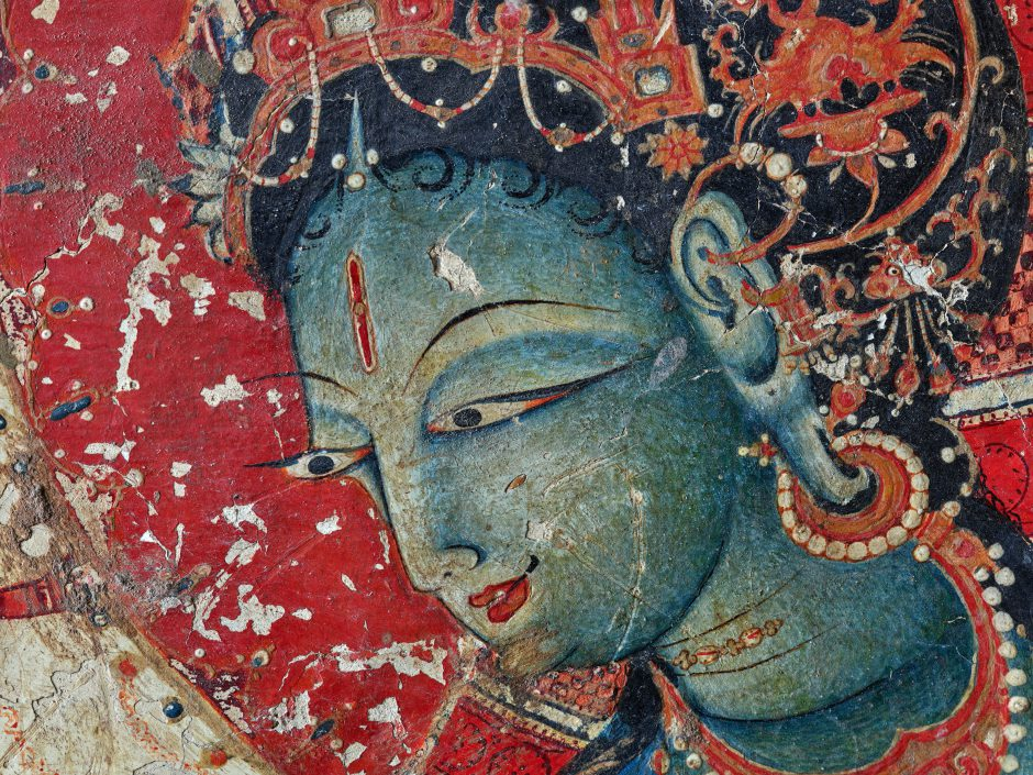 Ancient Painting of green Vasudhara/Tara
