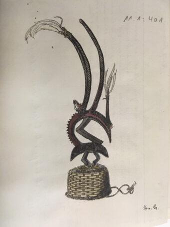Zeichnung eines Maskenaufsatzes aus Mali