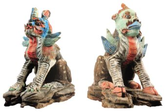 Grave keeper figures: mythological animals with bird beak, Mongolia, 7th century, grave find Shoroon Bumbagar, loan, Kharkhorum Museum