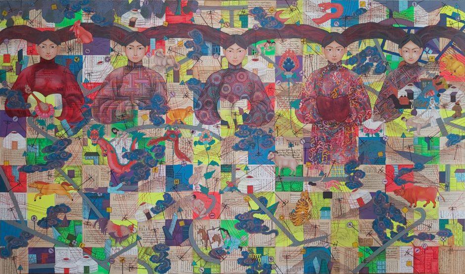 Gemälde Time Link von Nomin Bold, Mongolei 2020