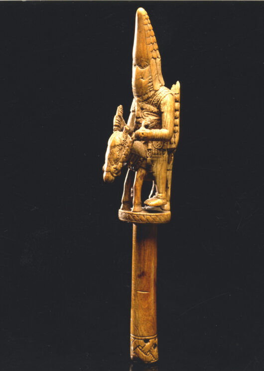 Equestrian figure carved from an ivory wand