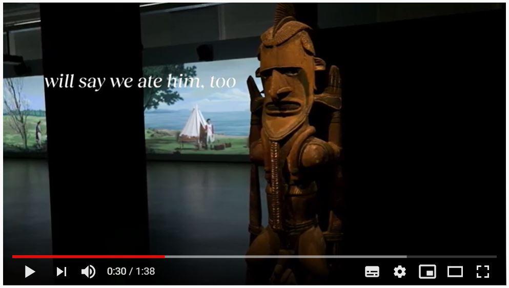 """Video zu """"Im Schatten von Venus: Lisa Reihana & Kunst"""" mit dem Gedicht """"On Cooking Captain Cook"""""""