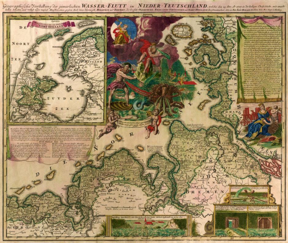 Vorstellung der jämmerlichen Wasser-Flutt in Nieder-Teutschland, 1717, Verleger Johann Baptist Homann, Deutschland nach 1718