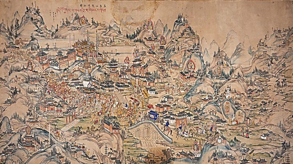 Gesamtansicht der heiligen Stätten des Wutaishan), Kartograph unbekannt, China, 2. Hälfte 19. Jahrhundert